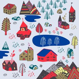 Scandinavian Style. Vector Illustration with Norwegian Village by Daria_I