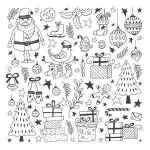 Vector Set of Hand Drawn Outline Christmas Illustrations. Clipart Collection with Santa Claus, Chri by darijashka