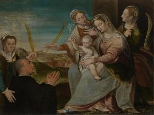 Virgin and Child with Sants Catherine, Lucy, Justina of Padua and a Benedictine Monk by Dario Varotari the Elder