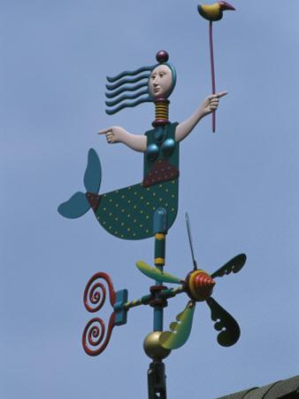 Colorful Mermaid Shaped Weather Vane, Brewster, Cape Cod, Massachusetts