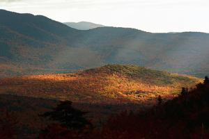 Telephoto view of sunlit valley in the White Mountains in autumn. by Darlyne A. Murawski
