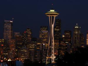 View of the Space Needle and Seattle's Skyline at Night, Washington by Darlyne A. Murawski