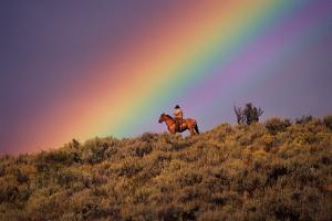 COWBOY AND Rainbow, PONDEROSA Ranch, OREGON by Darrell Gulin