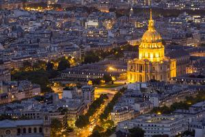 Evening light with Paris as seen from above and Dome Les Invalides. by Darrell Gulin