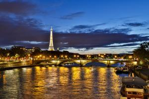 Evening lights reflected in Seine River and Pont Alexandre III bridge, Paris, France. by Darrell Gulin