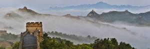 Great Wall of China on a Foggy Morning. Jinshanling, China by Darrell Gulin