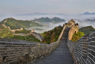 Great Wall of China on a Foggy Morning. Jinshanling, China by Darrell Gulin
