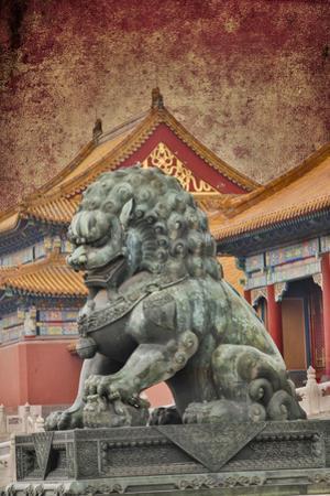 Lion Statue Standing Guard Forbidden City, Beijing, China by Darrell Gulin