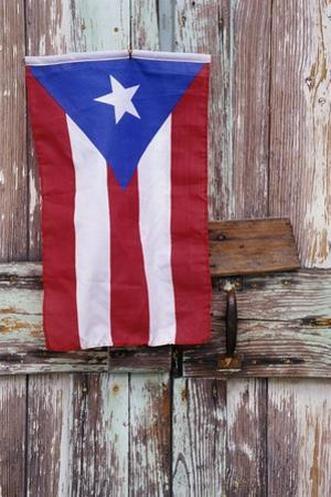 Puerto Rican Flag on Old Door by Darrell Gulin