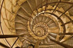 Round stairs leading to the roof of Arc de Triomphe, Paris, France by Darrell Gulin