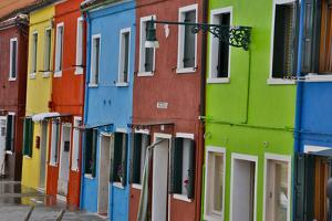 Row of Colorful Buildings Burano, Italy by Darrell Gulin