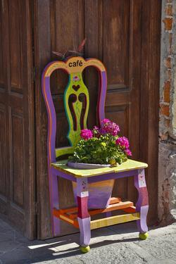 San Miguel De Allende, Mexico. Colorful painted chair planter by Darrell Gulin