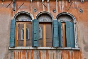 Shuttered Windows in Green, Venice, Italy by Darrell Gulin