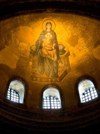 Stained Glass Windows and Artwork on Walls and Ceilings of Hagia Sophia, Istanbul, Turkey
