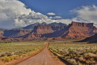 Straight dirt road leading into Professor Valley, Utah by Darrell Gulin