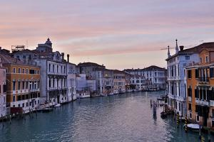 Sunset Boats on Grand Canal, Venice, Italy by Darrell Gulin