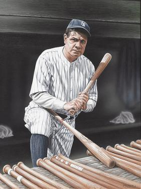 Babe Ruth On Deck by Darryl Vlasak