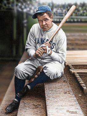 Babe Ruth Sitting on Top Step by Darryl Vlasak
