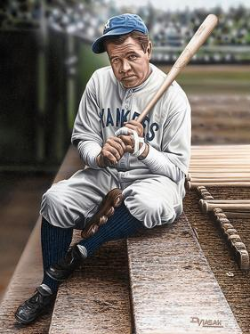Babe Ruth Sitting on Top Step by Darryl Vlasak