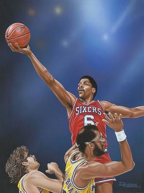 Dr. J Going to the Rim by Darryl Vlasak