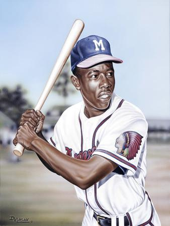 Hank Aaron on Deck by Darryl Vlasak