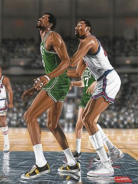 Wilt Chamberlin and Bill Russell by Darryl Vlasak