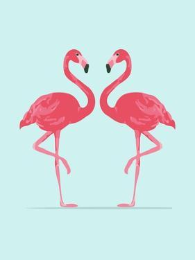 Vector Illustration Pink Flamingo Couple. Exotic Bird. Cool Flamingo Decorative Flat Design Element by Daryna Khozieieva