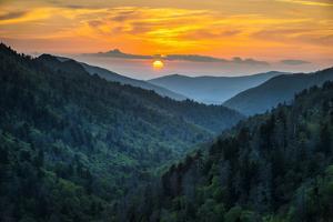 Gatlinburg TN Great Smoky Mountains National Park Scenic Sunset Landscape Vacation Getaway Destinat by Dave Allen Photography