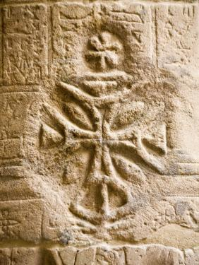 Christian Cross on a Wall Inside Philae Temple, Aswan, Egypt by Dave Bartruff