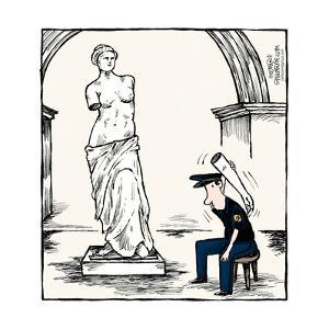 Speed Bump™ - A museum security guard is using an arm from the Venus De Mil by Dave Coverly