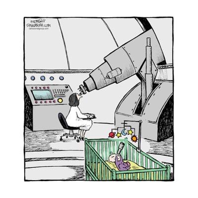 Speed Bump™ - An astronomer looks through a telescope while a baby in a cri by Dave Coverly