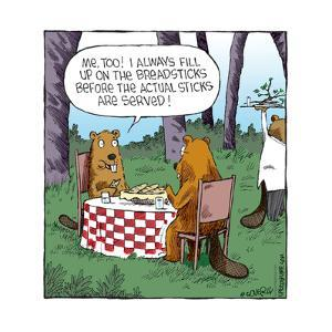 Speed Bump™ - Me, too! I always fill up on the breadsticks before the actual sticks are served! by Dave Coverly
