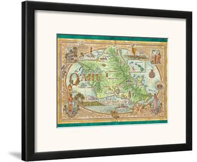 Oahu, The Gathering Place, Vintage Map of Oahu, Hawaii