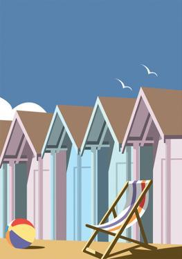 Beach Huts Close Up - Dave Thompson Contemporary Travel Print by Dave Thompson