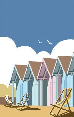 Beach Huts - Dave Thompson Contemporary Travel Print by Dave Thompson