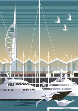Gunwharf Quays - Dave Thompson Contemporary Travel Print by Dave Thompson
