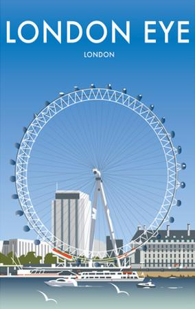 London Eye - Dave Thompson Contemporary Travel Print by Dave Thompson