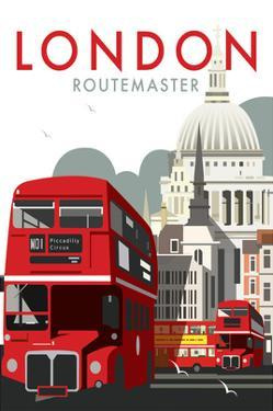 London Routemaster - Dave Thompson Contemporary Travel Print by Dave Thompson