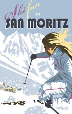 San Moritz - Dave Thompson Contemporary Travel Print by Dave Thompson