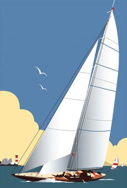 Solent Sailing Blank - Dave Thompson Contemporary Travel Print by Dave Thompson