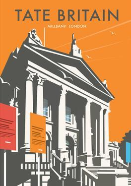 Tate Britain (Orange) - Dave Thompson Contemporary Travel Print by Dave Thompson