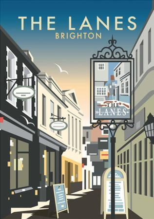 The Lanes, Brighton - Dave Thompson Contemporary Travel Print