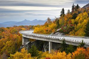 Blue Ridge Parkway Autumn Linn Cove Viaduct Fall Foliage Mountains by daveallenphoto
