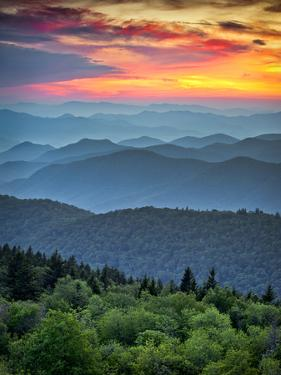 Blue Ridge Parkway Scenic Landscape Appalachian Mountains Ridges Sunset Layers by daveallenphoto