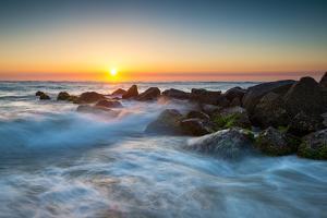 St. Augustine Florida Ocean Beach Sunrise with Crashing Waves by daveallenphoto