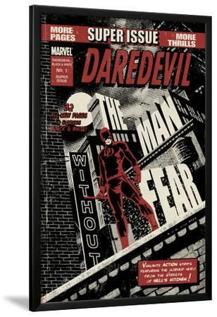 Daredevil Black & White No.1 Cover: Daredevil Standing on a Rooftop by David Aja