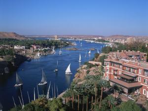 Nile and Old Cataract Hotel, Aswan, Egypt by David Ball