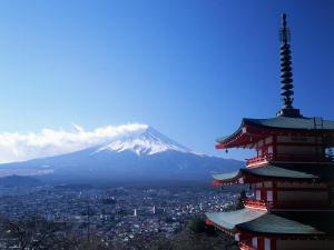 Pagoda and Mt. Fuji, Japan by David Ball