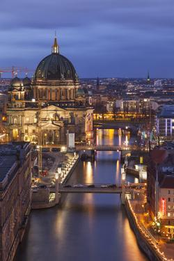 Berlin Cathedral, Berliner Dom, Seen Fom the Fischerinsel at Dusk by David Bank