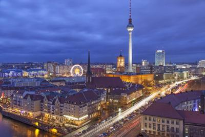 Berlin Mitte, Central Distric of Berlin with 368M Tall Tv Tower Seen from Fischerinsel at Dusk by David Bank